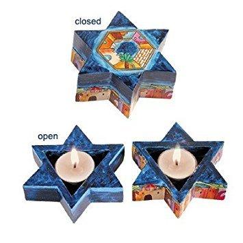 Star of David Travel Shabbat Candlesticks - Jerusalem Designed