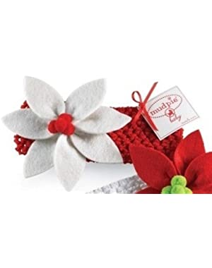 Poinsettia Headband by Mud Pie (Red with white flower)