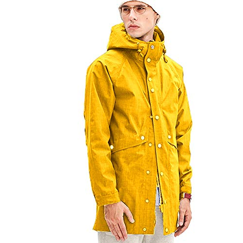 Romanstii Mens Jacket with Hood Winter Long Fashion Black Raincoat Men Waterproof Windproof,Unisex,for Ski,Travel,Fishing Any Outdoor Activities