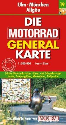 Motorrad Generalkarte Deutschland Ulm, München, Allgäu 1:200 000