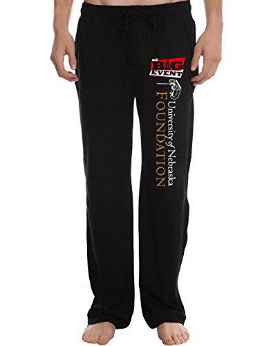 XJX Men's University of Nebraska Lincoln logo Running Workout Sweatpants Pants L Black