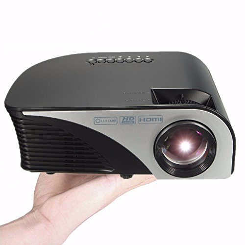 Portable LED Projector,ELEGIANT 1080P 1200 Lumens Mini Multimedia Home Theater Projector,Max 120'' Screen Optical Keystone AV/VGA/SD/USB/HDMI Interface,Ideal for Video Game,Movie Night Black
