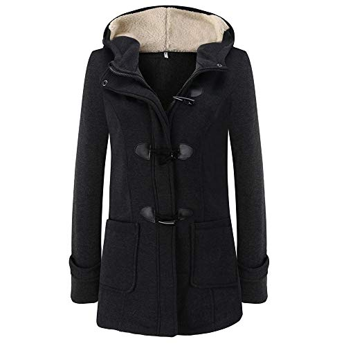 HULKAY Women's Hooded Coat Elegant Button Zipper Long Sleeve Hoodie Jacket with Pockets Outwear Pullover(Dark Gray,XL)