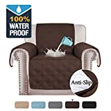 H.VERSAILTEX 100% Water Resistant Chair Slipcover Waterproof Furniture Protector Slip Reducing Backing Non-Slip Chair Covers Armchair Slipcover Protect from Pets Spills Wear and Tear (Chair: Brown)