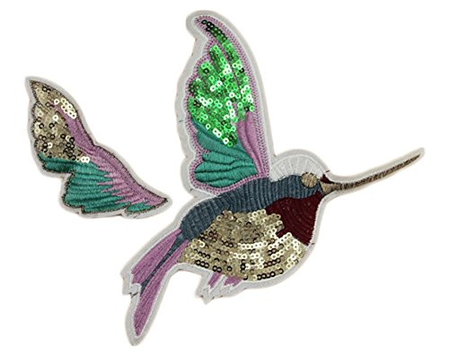 RoseSummer 1 Pair Bird Sequin Embroidered Sew Iron On Patch Badge Fabric Applique Lace Trim