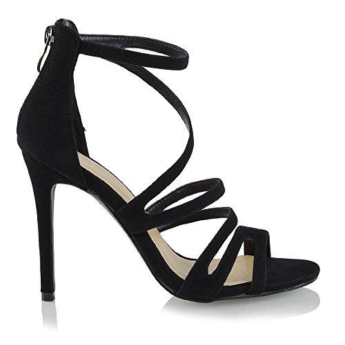 Essex Glam Tacones De Aguja Para Mujer Strappy Peep Toe Sandalias De Fiesta De Gamuza Faux Suede Negro