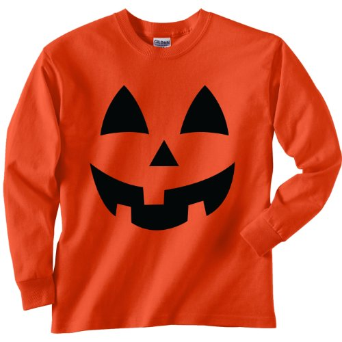 Youth Jack-O-Lantern Halloween Long Sleeve T-Shirt in Orange - Small (6/8) (Halloween Tees For Kids)