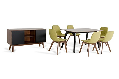 Limari Home LIM-73142 Bolt Collection 8 Piece Complete Collection Contemporary Walnut Family Dining Set with Buffet, Green Tea