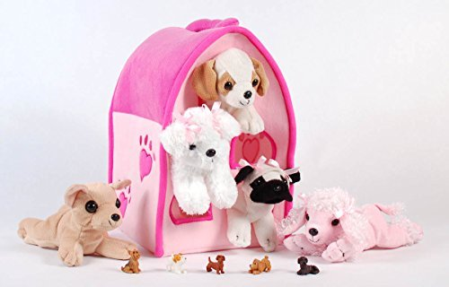Unipak 12'' Plush Pink Dog House Carrying Case with Five (5) Stuffed Animal Dogs (Pink Poodle, Pug, Chihuahua, Beagle, and White Terrier) + Free Bonus Five Mini Puppy Figures by Unipak