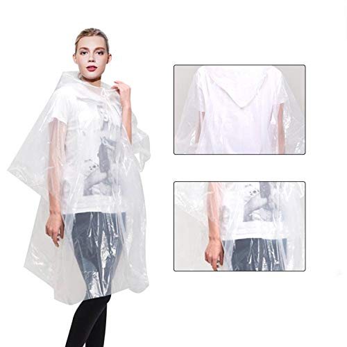 Rain Ponchos for Adults Disposable - Waterproof Lightweight (10 Pack) Rain Ponchos with Drawstring Hood 50% Thicker Material Emergency Rain Poncho Clear Color…