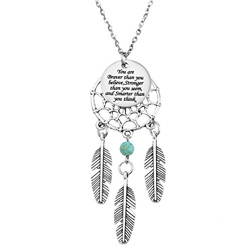 MJartoria Women's Dangling Feather Charms Filigree Tribal Dreamcatcher Pendant Chain Necklace (Engraved)