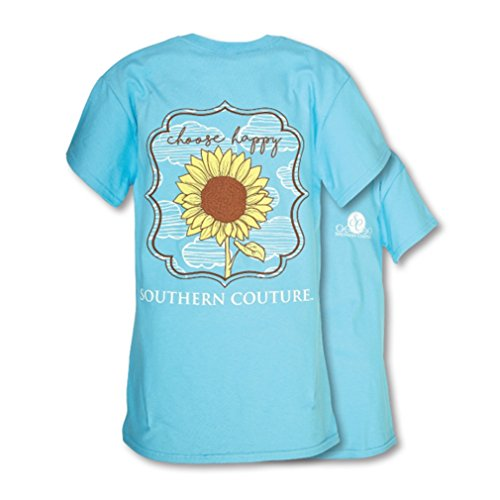 Southern Couture SC Classic Choose Happy Sunflower Womens Classic Fit T-Shirt - Sky Blue