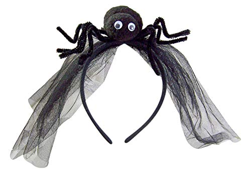 (Needzo Halloween Black Widow Spider Headband with Veil, 4 1/2)