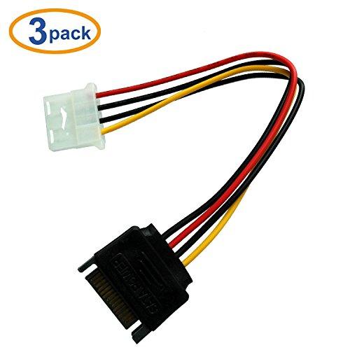 COReap(3 Pack)15 Pin SATA Male to Molex LP4 Female Power Cable 7.8-inch(20CM)