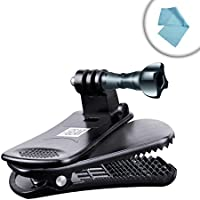 Action Cam Clip Mount with Durable Plastic , 360 Degree Rotating Head & J-Hook & Screw Adapter by USA Gear - For GoPro , Garmin , YI & More Action Cameras - Attach it to your Hat , Backpack & More