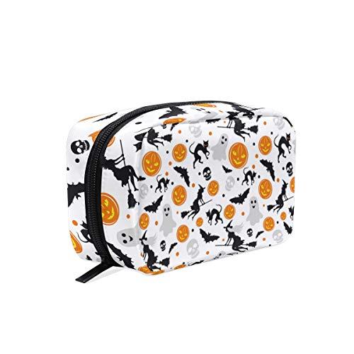 Halloween Bat Eyeshadow (ZZAEO Halloween Witch Pumpkin Bat Ghost Black Cat Makeup Bag Cute Printing Mini Cosmetic Case Organizer Travel Accessories Toiletry Beauty Pouch for Women Teens)