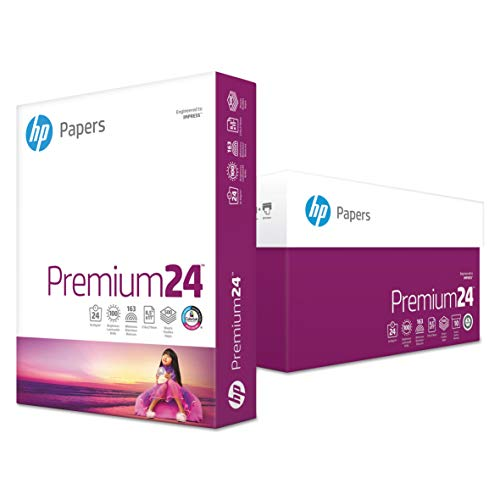 HP, Premium24 Paper, HEW115300, 98 Bright, 24pound, 8.5 x 11, Ultra White, 500 Sheets/Ream, 5 Reams/Carton, Sold As 1 Carton ()