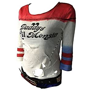 maket Suicide Squad Harley Quinn Costume T-Shirt Cosplay Costumes(Red,S)