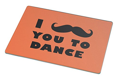 Rikki Knight I Mustache You To Dance Orange Color Large Glass Cutting Board by Rikki Knight