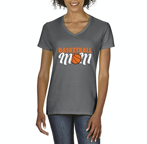 Xekia Basketball Mom Women's V-Neck T-Shirt Tee Clothes XXX-Large Charcoal