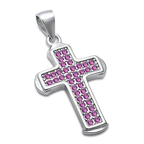 Diamond & Ruby Cross Pendant - 9