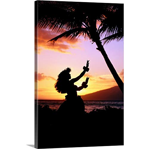 (Premium Thick-Wrap Canvas Wall Art Print Entitled Hawaiian Islands Hula Dancer 16