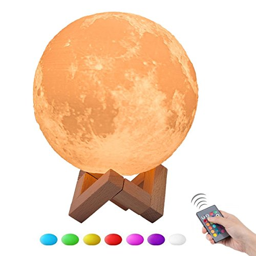 3D Moon Lamp,WONFAST Adjustablbe Brightness Color Changing LED Ambient Night Light USB Charging With Remote Control Home Decorative Lights for Baby Bedroom Birthday Christmas (7.87 inch/20 CM) by WONFAST