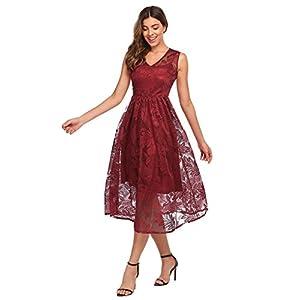 ANGVNS Women's Floral Lace Cocktail Party A Line Midi Flowy Dress