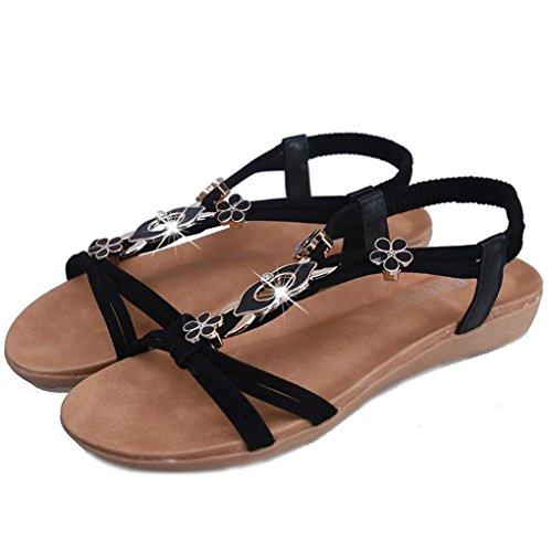 Winwintom Mujeres plana de Zapatos Dama sandalias peep toe con cuentas de Bohemia de ocio outdoor Sandals Negro