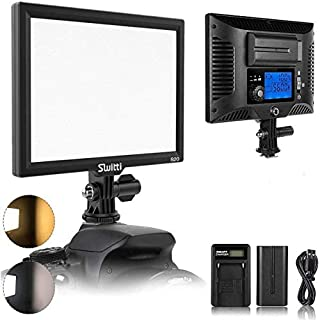Switti Camera Light, Portable Ultra-Thin LED Video Light, Dimmable Bi-Color 3200K-5600K CRI95+ Camera Lighting for Video Shooting and Photography (NP-F550 Battery Included)