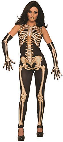 Ladies Sexy Miss Bones Skeleton Jumpsuit Catsuit Halloween Horror Scary Fancy Dress Costume Outfit