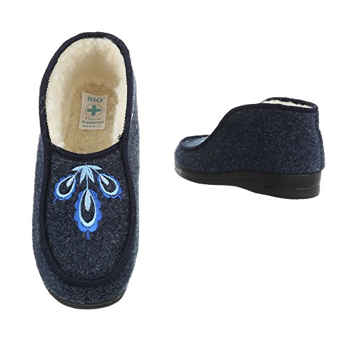 Schuhcity24 Damen Schuhe Freizeitschuhe Warm Gefütterte Hausschuhe Dunkelblau