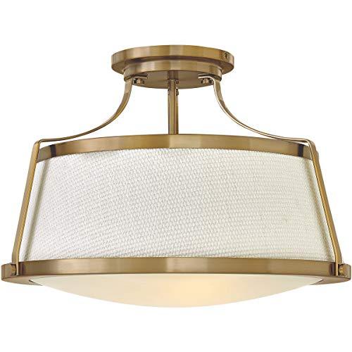 Semi Flush 3 Light Fixtures with Brushed Caramel Finish Steel Material Medium Bulb 20