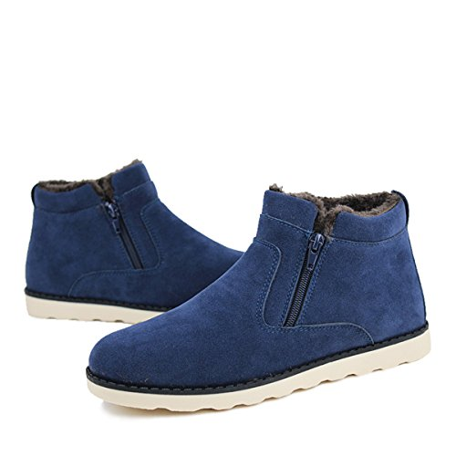 gracosy Zipper Chelsea Boots Suede Slip Cotton Warm Mens Lined Boots Snow High Women Short Outdoor Flat Toe Fur Boot Ankle Shoes for Round Women's Shoes Ankle on Side Blue Shoes Winter Men and Casual r1vrxq6a