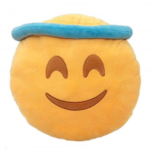PLUSH & PLUSH® TM 12'' Inch / 30cm Large Emoji Pillows Smiley Emoticon Soft Plush Stuffed Yellow Roundy Full Collection (USA SELLER) (ANGEL) by PLUSH & PLUSH® TM