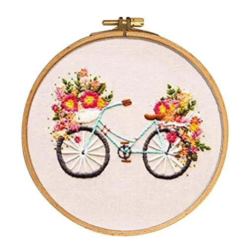 Baosity Stamped Embroidery Kit with Pattern, Pre-Printed Cloth & Hoop 15cm DIY Needlework Crafts - Flower & - Needlepoint Pattern Sampler