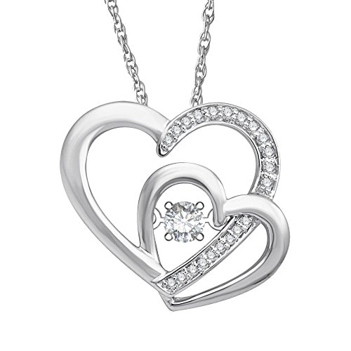 0.17 Ct Diamond (10k White Gold Round Diamond Heart Diamond Pendant Necklace (0.17 Carat))