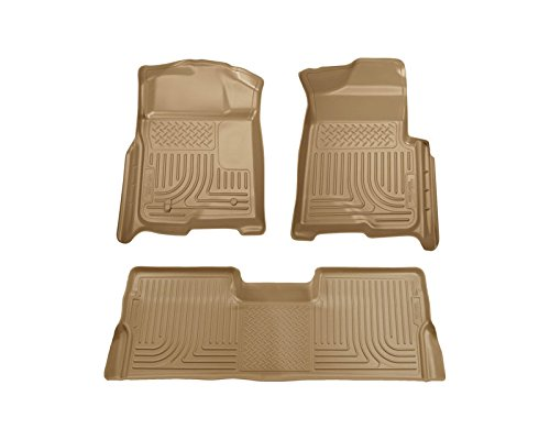 Husky Liners Front & 2nd Seat Floor Liners | Weatherbeater Series Tan Ford F-150 Supercrew Cab Pickup Without Manual Transfer Case Shifter 09-14