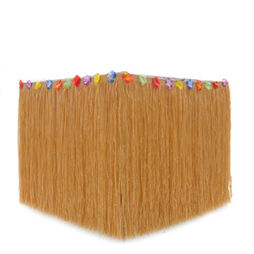 B&S FEEL Hawaiian Luau Grass Table Skirt Trimmed with Tropical Flowers for Tabletop Party Decoration Party Supplies (Grass-liked)