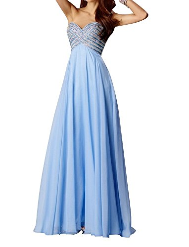 Charm Bridal graceful chiffon sequin summer dress Prom dress Party dresses long -26W-Blue by Charm Bridal