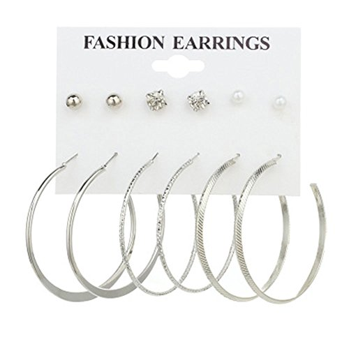 Cyntan Clip Cuff Earring Set Ball Crystal Set Of Earrings For Girls Women 6 Pairs/Set Silver (Crystal Ball Clip)