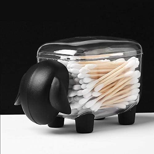 文房具オーガナイザー、かわいい漫画文房具綿棒メイクコットンボックスメイクコットン収納ボックスホルダーオーガナイザーデスクトップオーガナイザー(黒)