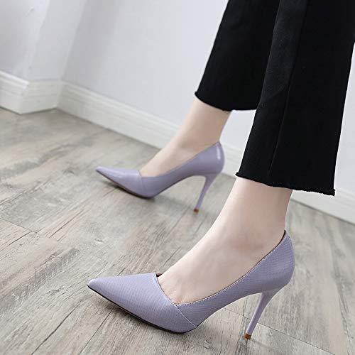 Fine Fashion Sexy High Girl 9Cm And Shallow Autumn Heel Night KPHY Sharp Shoes Heel Skin Snake Spring Violet Shoes qP6xt