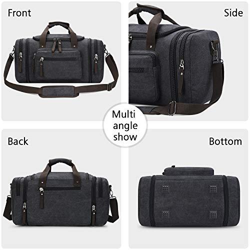 Toupons Canvas Travel Tote Luggage Men's Weekender Duffle Bag, Black
