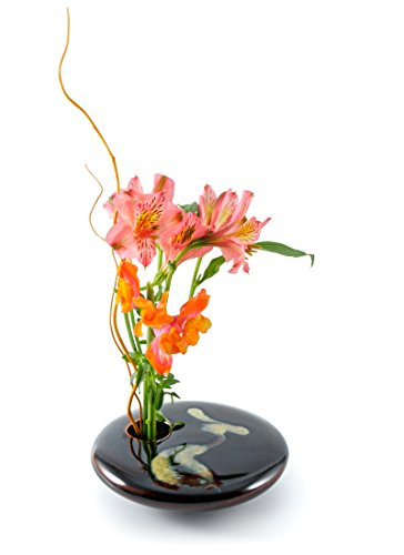 Georgetown Pottery Round Ikebana Flower Vase, Black Wave