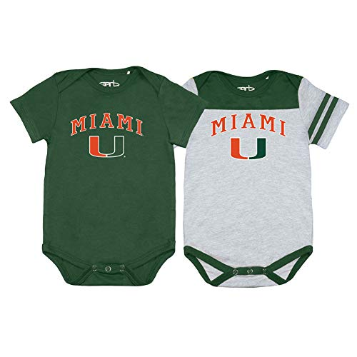 Elite Fan Shop Miami Hurricanes Infant Baby Onesie 2 Pack - 6M - Green (Baby Boy Clothes Miami Heat)