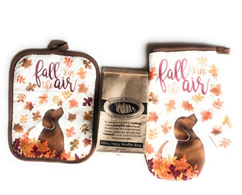 Fall Autumn Oven Mitt & Pot Holder Set With Dog Print and 4 oz. Simmering Potpourri Pumpkin Spice by Nantucket (Image #1)
