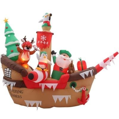 8 Ft. Inflatable Giant Christmas Pirate Ship Scene by Gemmy