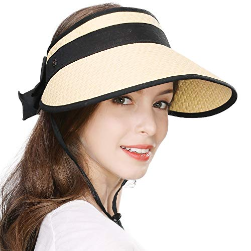 Jeff & Aimy Ladies Wide Brim Straw Visor Sunhat UV Protection SPF 50 Packable Beach Accessories with Chin Cord Beige