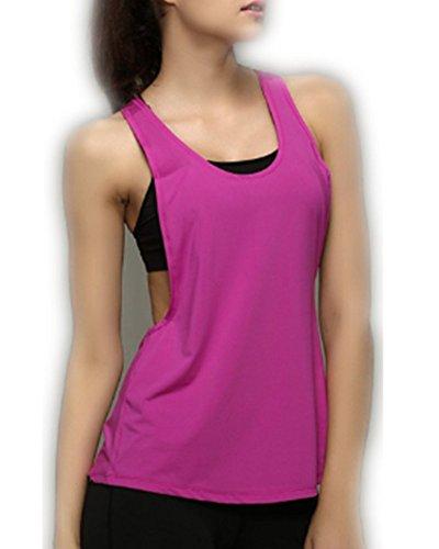 Débardeur Yoga Sport Tank Top Femmes de base en vrac Low col en V dos nageur (M (US size 4-6), Rose)